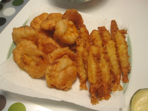 Sweet potato and shrimp tempura