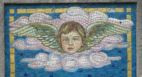 Child angel mosaic - part of the grave monument of a young boy