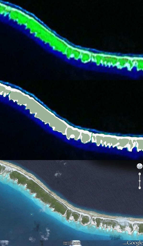 Faaite Atoll FP - Comparison - Landsat Image, EVS Precision Map, DigitalGlobe Image (1-12,500)