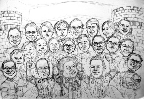 Group knight caricatures for PricewaterhouseCoopers - pencil sketch
