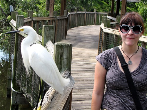Becky with great egret