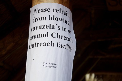 Please refrain from blowing vuvuzela's [sic] in or around Cheetah Outreach Facility. Kind Regards, Management