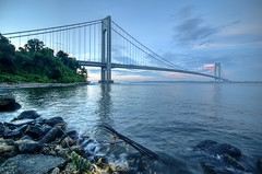 The Verrazano-Narrows Bridge, New York (mudpig) Tags: nyc newyorkcity bridge cloud ny newyork beach rock brooklyn geotagged manhattan wave hudsonriver statenisland hdr narrows verrazano verrazanonarrows i278 fortwadsworth mudpig stevekelley