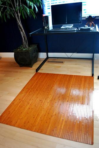 Bamboo Chair Mat Hard Wood Floor Protector Office Desk