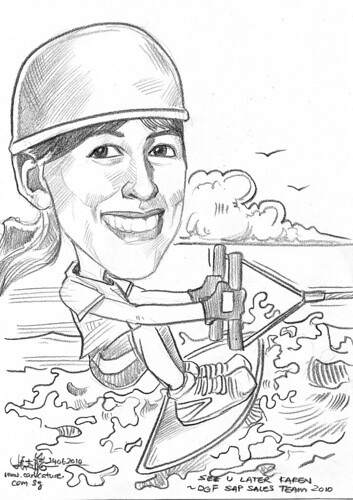 Caricature for DHL - wakerboarder