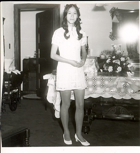 mom in white dress 60s