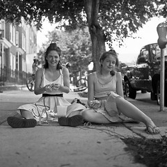(patrickjoust) Tags: street city girls portrait people urban bw usa white black 120 6x6 tlr blancoynegro film home glass smile analog america square lens lunch person us reflex md nikon focus mechanical eating united patrick twin maryland baltimore 150 sidewalk v epson medium format 100 states manual 500 nikkor rodinal joust edu developed ultra hampden estados f35 75mm blancetnoir unidos honfest fomapan arista v500 airesflex rebranded schwarzundweiss autaut patrickjoust