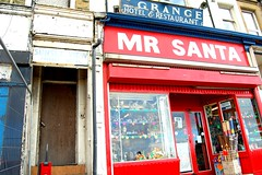 Mr Santa (campdavemorecambe) Tags: uk red shop project lancashire lolo morecambe camerabag d40 mrsanta