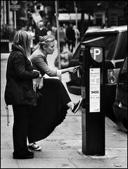 feeding the meter in style (jonron239) Tags: cute girl finger jacket parkingmeter richmondgreen minetoo pushingbuttons plimsoles maxiskirt chelseatractor whatapose longblackskirt flatheels cuffsrolledup80sstyle scruffysidekick