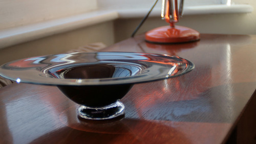 Aubergine Coloured Glass Dish