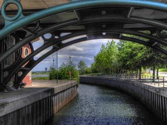 Tees Barrage (jimsumo999) Tags: bridge whitewater lock stockton barrage hdr tees teeside photomatix thornaby infinityfootbridge