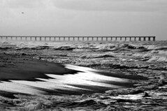 So Much Action (raisinsawdust - (aka: withaneyephotography)) Tags: ocean bw beach water squall pier sand nikon surf waves florida gull tide stormy seashore 2010 floride gulfcoast sunshinestate d90 stormyseas nikond90 floridavacatin