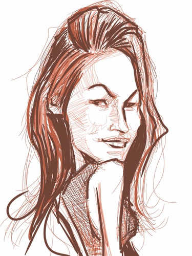 digital sketch studies of Megan Fox 1 on iPad SketchBook Pro