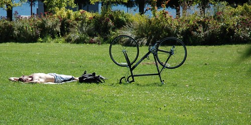 Bike on break, with white sun-tanning guy, Gasworks Park, Cheshiahud Lake Union Loop, Seattle, Washington, USA by Wonderlane