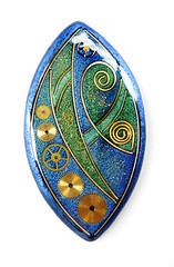 Steampunky (papagodesign) Tags: blue wire polymerclay mica pendant steampunk clockparts fauxcloisonne