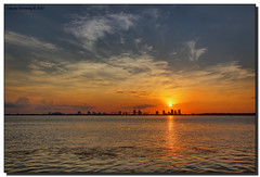 Sunrise over Biscayne Bay (Fraggle Red) Tags: morning sun clouds sunrise bravo florida miami miamibeach southbeach hdr biscaynebay fisherisland portofmiami canonef24105mmf4lisusm 3exp rickenbackercswy anawesomeshot miamidadeco dphdr