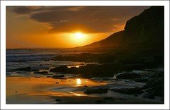 SOUTHERNDOWN, WALES (IMAGES OF WALES.... (TIMWOOD)) Tags: sunset sea reflection beach water southwales wales coast rocks waves sony valeofglamorgan bridgend rockpool southerndown heritagecoast alphaa700 imagesofwales