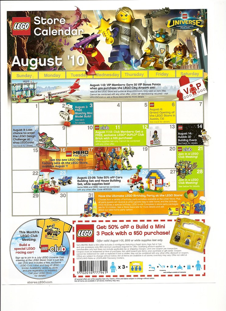 LEGO Store Calendar August 2010 | Brickset: LEGO set guide and database