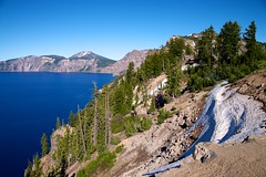 Crater Lake (davidmnelson) Tags: travel blue sky lake nature water oregon outside outdoors nationalpark flora visit h2o clean clear craterlake usnationalparkservice