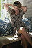 leopard print dress by SEA NY+90's gilded bejeweled gold necklace+Tom Ford Anouk sunglasses -sharp
