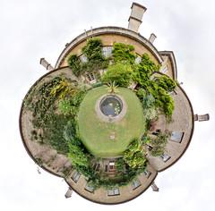 courtyard garden - world (simon sherwin) Tags: panorama handheld 8mm nationaltrust hdr 360 stereographic dyrhampark enblend hapala