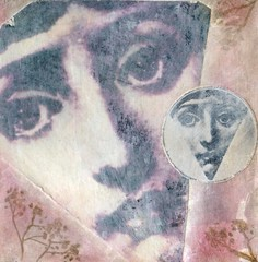 Enigmatic..... (Julka2009...(mostly off)) Tags: light two woman art texture altered vintage mouth cards eyes faces 4x4 handmade expression craft shade enigmatic 2010 ourtime awardtree altrafotografia
