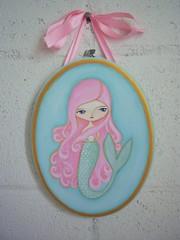 The Ocean's Treasure (FairRosamundArt) Tags: ocean pink blue sea art fairytale pretty folkart originalpainting decoration pearl lovely mermaid whimsical wallhanging fairrosamund laurenstartzman