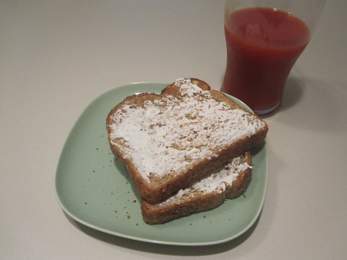 toast with cream cheese, vegetable juice