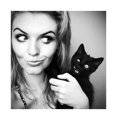 Fredek Facial Expression (basistka) Tags: portrait bw woman girl animal cat expression kitty facial