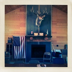 Madison County Sportsmen Club (Aint No Joke) Tags: america chair fireplace head flag moose iowa american ia mantle iphone winterset