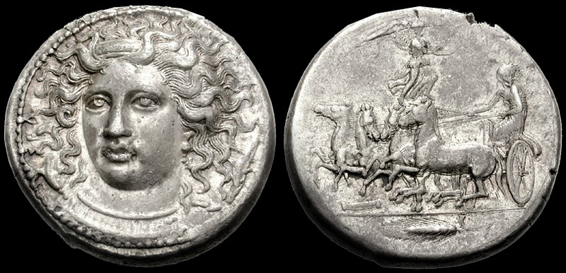 An Important Greek Silver Tetradrachm of Syracuse (Sicily), Signed by K[imo]n, A Numismatic Masterpiece