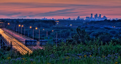 Pilot Knob (John Pihaly) Tags: bridge flowers sunset cars minnesota buildings evening airport twilight hill minneapolis canoe nativeamerican mississippiriver lighttrails twincities knob mn hdr pilot fortsnelling downtownminneapolis skylineatnight
