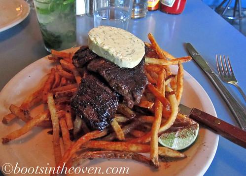 Skirt Steak, pepper-rubbed, chimichurri butter, steuben's fries $16