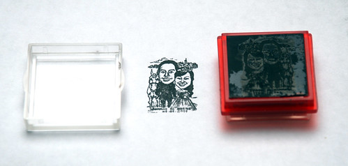 Wedding couple caricatures - knight & princess printed on black rubber stamp