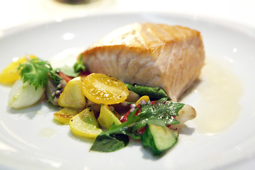Slow cooked organic salmon