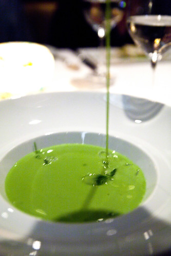 Pouring the Chilled English Pea Velouté