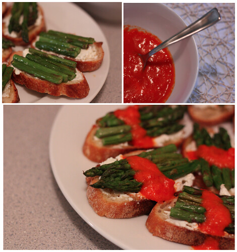 Roasted Asparagus Goat Cheese Crostini with Sweet Red Pepper Sauce