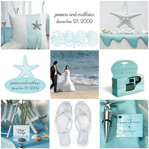 aqua, silver and white beach wedding theme