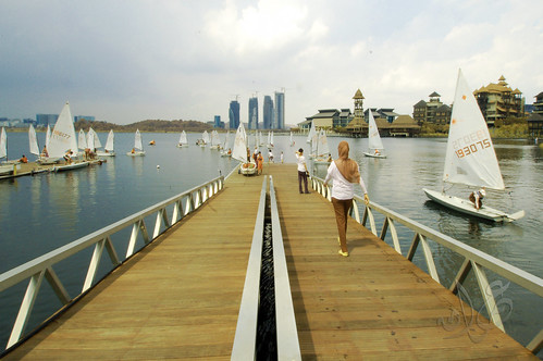 Boat launching to the lake for the Putrajaya Sailing Week opening race