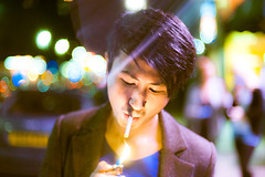 Chinky (TGKW) Tags: lighting street light boy portrait people man night colours bokeh glasgow cigarette smoke chinese smoking flame flare wilson nightlife lighter sauchiehall nicensleazy 6580
