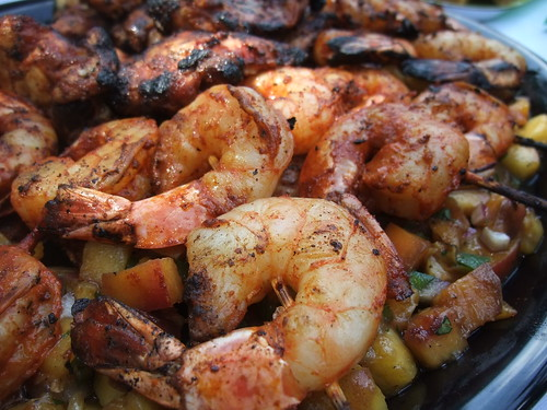 Yucatan-Marinated Chicken and Shrimp with Grilled Peach Salsa