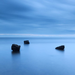 Three Rocks (dougchinnery.com) Tags: blue sea sunrise grey dawn bay coast seaside rocks yorkshire overcast minimal east minimalism minimalist nab saltwick