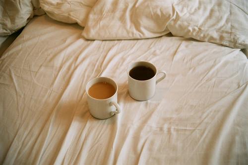My tea, his coffee.