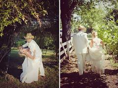 a wedding diptych (manyfires) Tags: wedding summer love hat oregon digital portland groom bride vineyard diptych cowboy couple grove marriage dip mcmenamins troutdale oneofthehottestdaysoftheyear