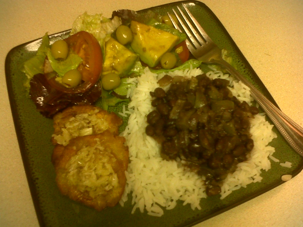 VEGAN Black Beans and Rice, Fried Plantains, & Salad