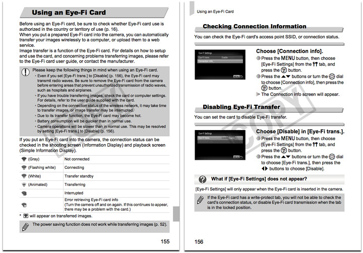 Complete instructions on using an Eye-Fi SD / SDHC memory card with the Canon SD4000IS, found on pages 155 through 156 of the Canon SD4000 Manual