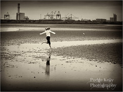 """Reflections of Childhood"" (Podge Kelly) Tags: city seagulls white reflection water girl childhood sepia blackwhite seaside jumping sand child imagination kelly toned bulidings d3 waterreflection crains podge bearfeet wetsand oureyes artlife 70200mmlens girljumping flickrawards nikonzoomlens nikond3 cafeelite podgekelly"