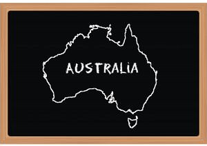 The shape of Australia drawn on a blackboard