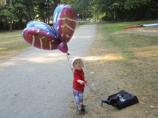 Jacob checks out the balloon