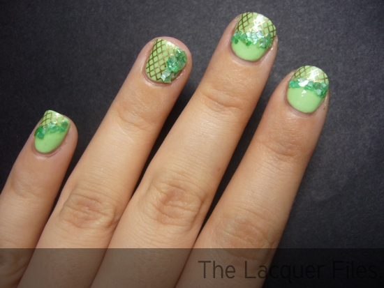 OPI Gargantuan Green Grape stamped with Konad Imageplate M57 and China Glaze 2030, finished with Lime Crushed Shells